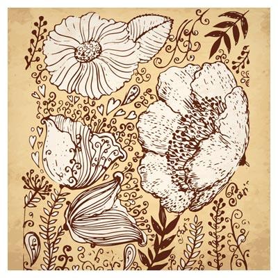 پس زمینه گل های Retro خطی بصورت لایه باز (Retro Hand-painted flowers vector background)