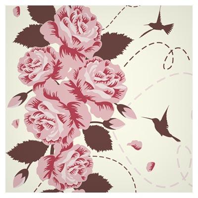 وکتور گل های رز و مرغ مگس خوار (Rose Bird vector background)