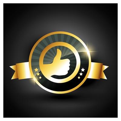 لیبل رایگان ، وکتوری و لایه باز طلایی با موضوع گارانتی و لایک (Gold Label Free)