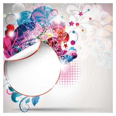 وکتور لیبل و بنر با گلهای تزئینی بصورت لایه باز (Trend Of Creative Posters Vector Background)
