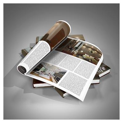 فایل Mockup لایه باز نمایش صفحات داخلی مجله بصورت سه بعدی