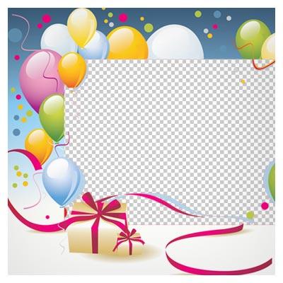 فریم و قاب بادکنکی مناسب برای قاب کودک (Birthday Transparent PNG Photo Frame)