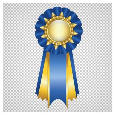 تصویر PNG و بدون زمینه لیبل و مدال آبی رنگ (Blue Rosette Ribbon PNG Clipart Picture)