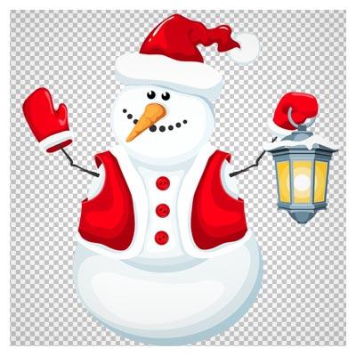 کلیپ آرت و فایل ترانسپرنت آدم برفی کارتونی با کیفیت بالا (Christmas Snowman with Lantern PNG Clipart)