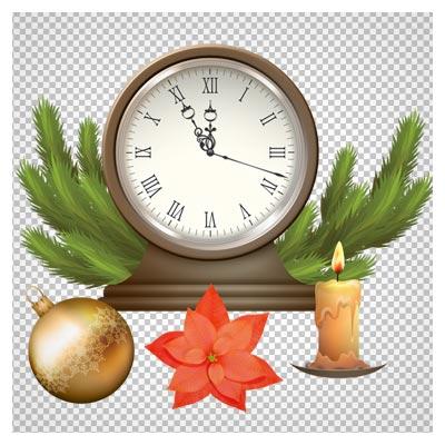 المان های دوربری شده کریسمس شامل ساعت ، شمع ، گوی و گل