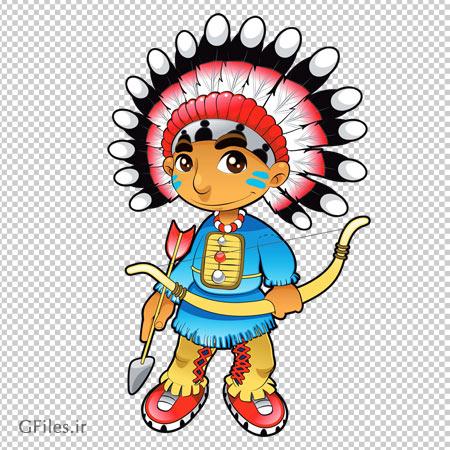 کلیپ آرت و کاراکتر کارتونی پسر سرخپوست کمان به دست (Cute Native Boy Clipart)