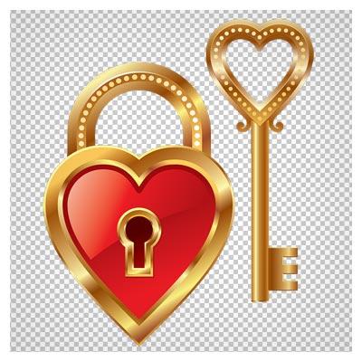 کلیپ آرت رایگان قفل قلب و کلید آن بصورت طلایی (Heart Lock and Heart Key Clipart)