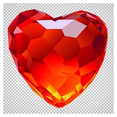 فایل دوربری شده و با کیفیت قلب قرمز الماسی (Large Red Diamond Heart Clipart)
