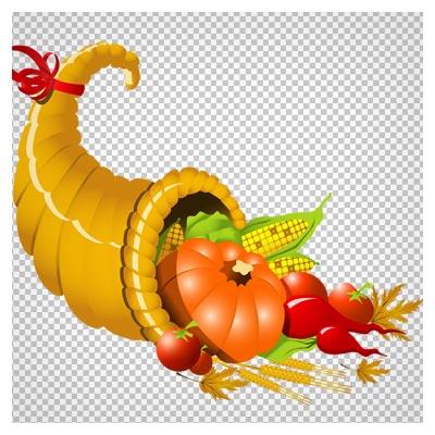 فایل png مجموعه میوه های مختلف در ظرف قیفی شکل (Thanksgiving Cornucopia PNG Image)