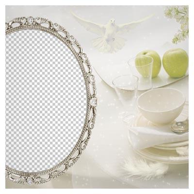 فریم و قاب عاشقانه با فرمت png با امکان درج عکس زیر قاب (Transparent Cream Soft Frame)