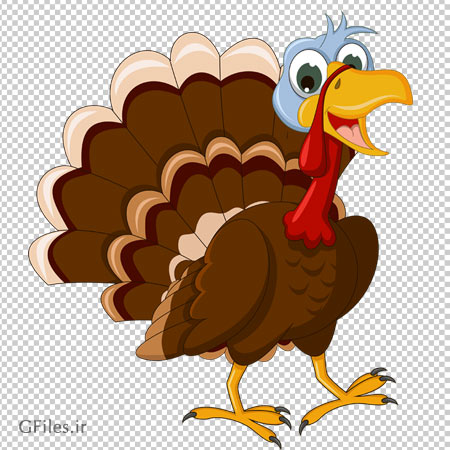کلیپ آرت کارتونی بوقلمون با فرمت PNG با کیفیت بالا (Transparent Thanksgiving Turkey Picture)