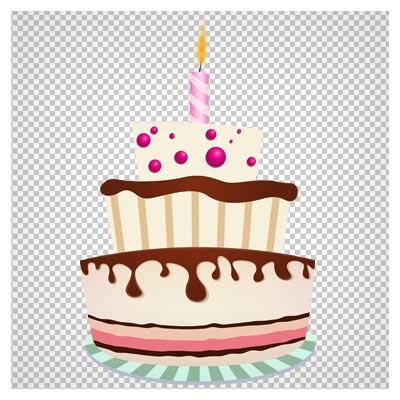 فایل با کیفیت ترانسپرنت کیک تولد و شمع های تولد (Birthday Cake with One Candle PNG Clipart Image)