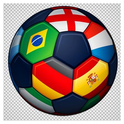 فایل ترانسپرنت png توپ و پرچم کشورهای مختلف (Football with Flags Transparent PNG Clipart Picture)