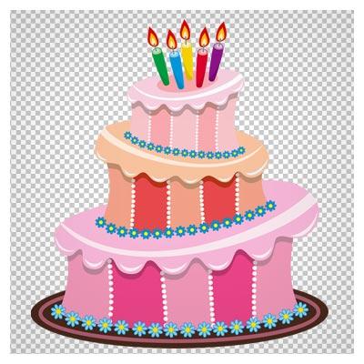 فایل کارتونی ترانسپرنت کیک تولد صورتی رنگ (Pink Birthday Cake PNG Clipart)