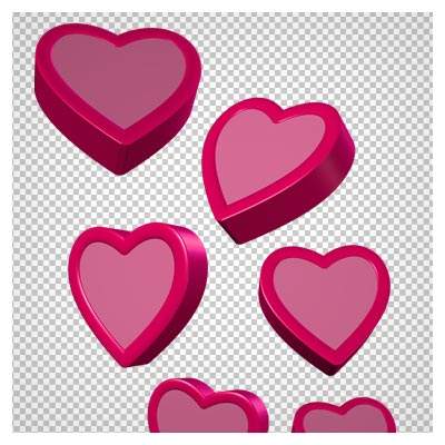 فایل PNG دوربری شده مجموعه قلب های سه بعدی صورتی (Pink Hearts PNG Clipart Picture)