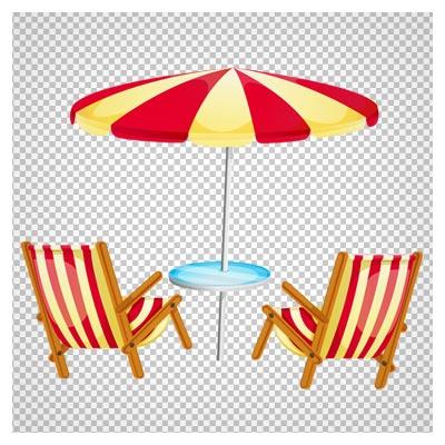 فایل ترانسپرنت PNG صندلی و چتر ساحلی (Transparent Beach Umbrella with Chairs PNG Clipart)