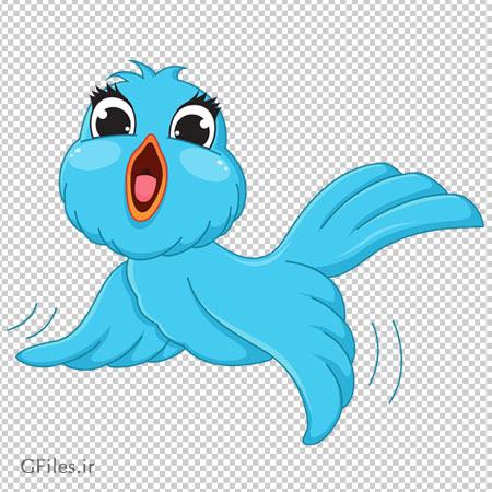 کاراکتر کارتونی ترانسپرنت و PNG پرنده آبی (Transparent Blue Bird PNG Cartoon Picture)