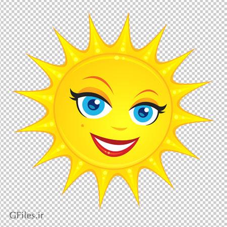 فایل ترانسپرنت خورشید خانم کارتونی (Transparent Cute Sun PNG Clipart Picture)