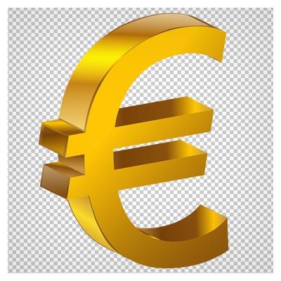 فایل دوربری شده علامت یورو (واحد پول اروپا) طلایی (Transparent Gold Euro PNG Clipart)