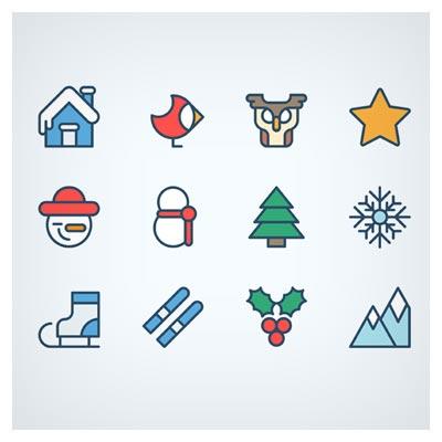 مجموعه آیکون های وکتوری زمستانی و کریسمس (christmas icons freebie outdoor)