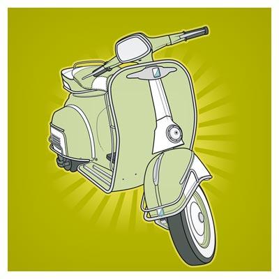 وکتور موتورسیکلت Kiko Vespa بصورت لایه باز (Kiko Vespa Motor)