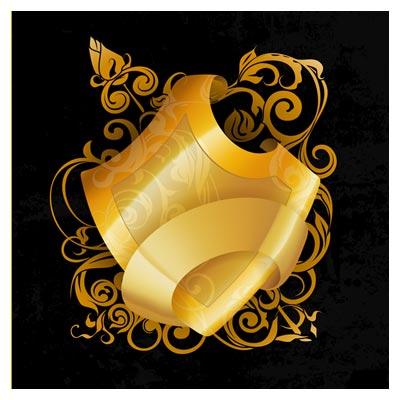 فایل برداری (وکتور) لیبل طلایی در پس زمینه مشکی
