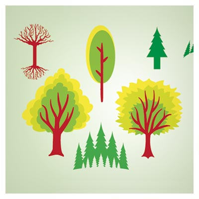وکتور شکل های مختلف درخت سبز (free tree vectors cartoon green nature illustration stock art)