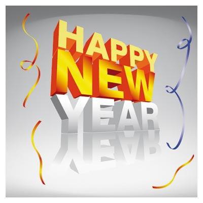 وکتور رایگان لوگوتایپ سه بعدی جمله سال نو مبارک (Happy New Year)