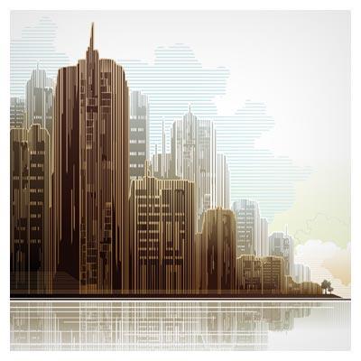 وکتور ساختمان و آسمان خراش بصورت لایه باز (city skyscrapers)