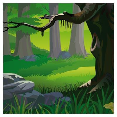 فایل کارتونی جنگل سبز با فرمت وکتور (Forest Landscape)