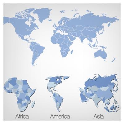 فایل وکتوری 5 قاره جهان (نقشه جهان)(World Map Vector)