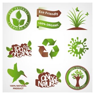 مجموعه نمادهای محیط زیست و بازیافت (green environmental protection vector icon)