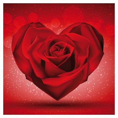 دانلود رایگان وکتور گل رز قلبی شکل قرمز (Red Rose in The Shape Of Heart over Bright Background Vector)