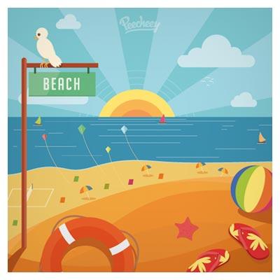 بنر لایه باز با موضوع ساحل و گردشگری با سبک طراحی فلت (Summer Memories)
