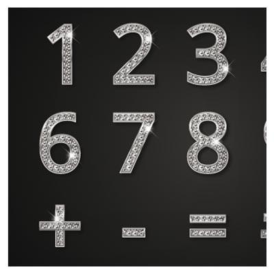 وکتور اعداد و سمبل های دیجیتال الماسی (diamond digits and symbols)