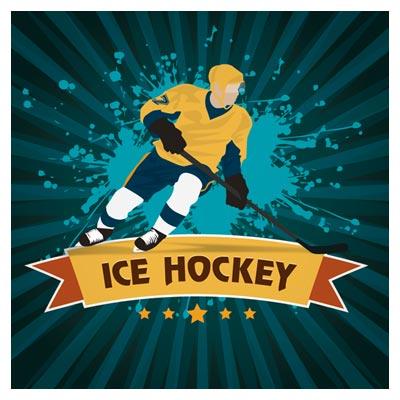 وکتور بازیگر ورزشی در حال بازی هاکی روی یخ (hockey Vector)