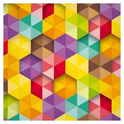 پس زمینه هندسی شش ضلعی رنگین کمانی
