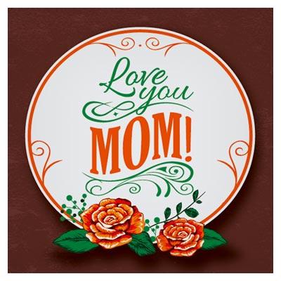 بنر دایره ای روز مادر با فرمت وکتور با گل های رز (Mother Day Banner)