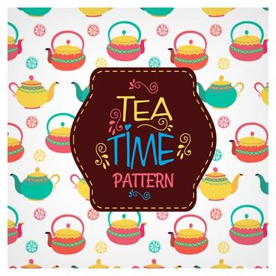پترن لایه باز وکتوری با موضوع زمان چایی (Tea Pattern Background)