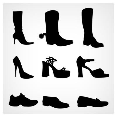 مجموعه آیکون های تکرنگ (مشکی) کفش های مختلف (Shoes Set Vector)