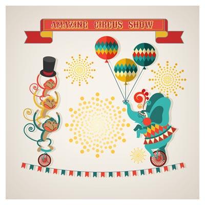 تصویر وکتوری نمایش سیرک حیوانات با سبک طراحی فلت (Amazing circus show vector illustration)