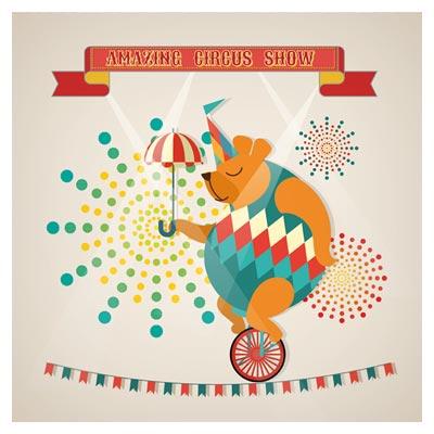 وکتور لایه باز و کارتونی سیرک شگفت انگیز (طناب بازی خرس)(Amazing Circus show vector illustration)