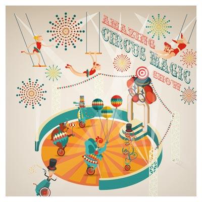 وکتور نمایش صحنه سیرک بصورت کارتونی و طراحی فلت (Amazing circus show vector illustration)