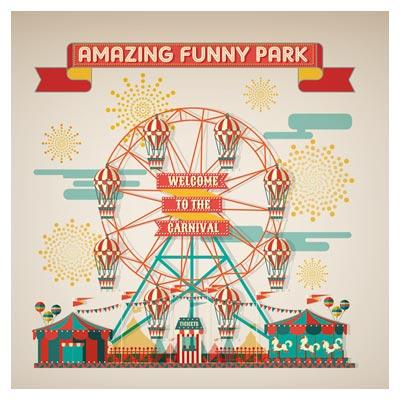 وکتور لایه باز پارک و سیرک شگفت انگیز (amazing funny park vector)