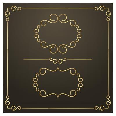 وکتور مجموعه فریم و قاب های حاشیه ای طلایی (Free Golden Frames)
