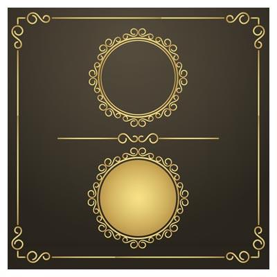 فریم های حاشیه ای طلایی با فرمت وکتوری