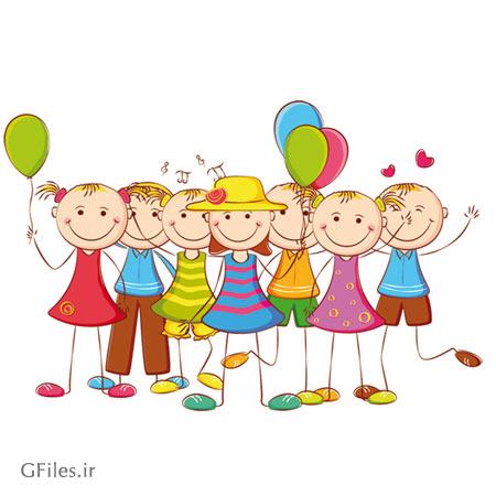 دانلود فایل وکتور کارتونی کودکان شاد (free vector Cartoon Primary school students Illustration)