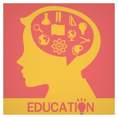 دانلود وکتور با موضوع تحصیلات و مغز متفکر (Education graphic art Vector)