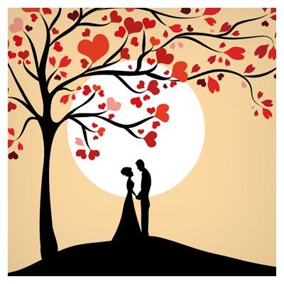 وکتور رایگان درخت عشق (درخت با برگهای قلب)(Free Love Tree Vector)