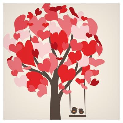 فایل لایه باز وکتوری درخت و پرنده های عاشق روی تاب (Free Tree And Lovely Birds)